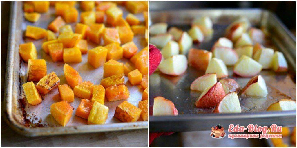тыква и яблоки из духовки