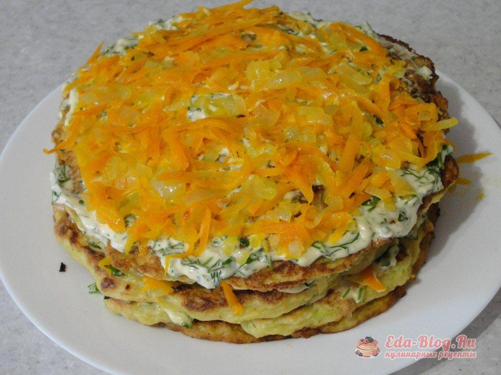 Рецепт торта из кабачков с морковью и луком