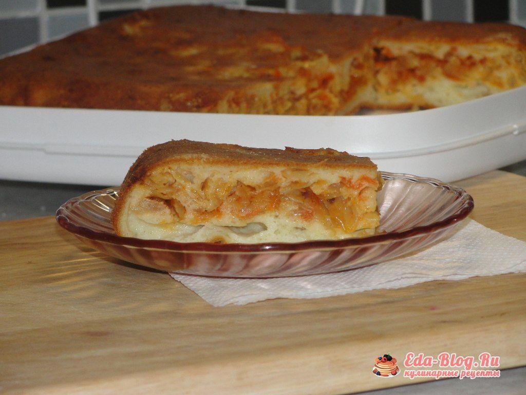 кусочек капустного наливного пирога